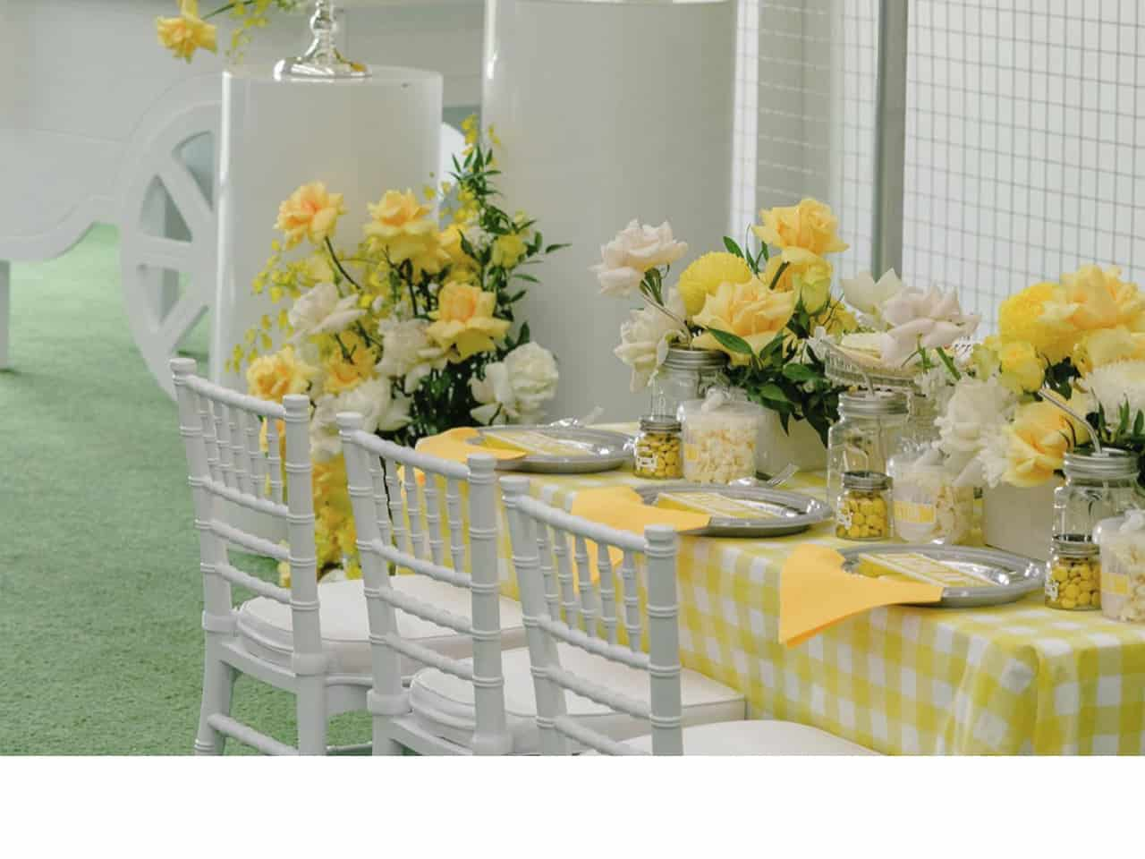 Tables with yellow decorations