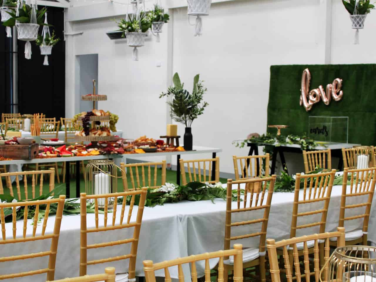 Long tables with wooden chairs