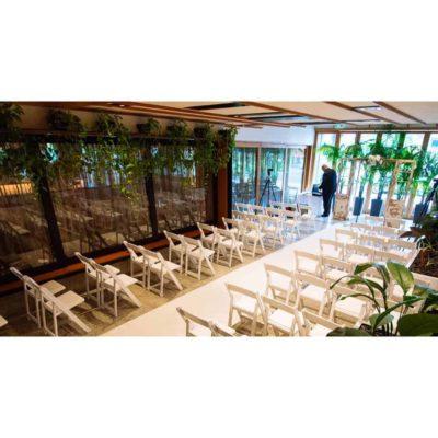 A boho-style wedding reception room.