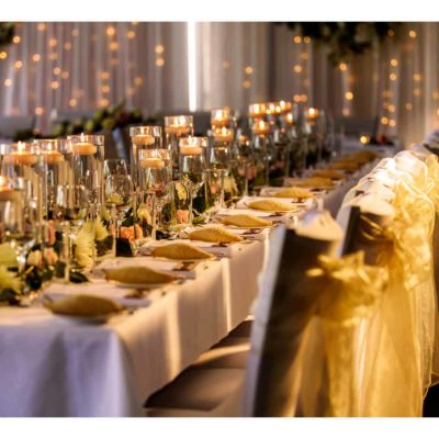 Long table setup for event